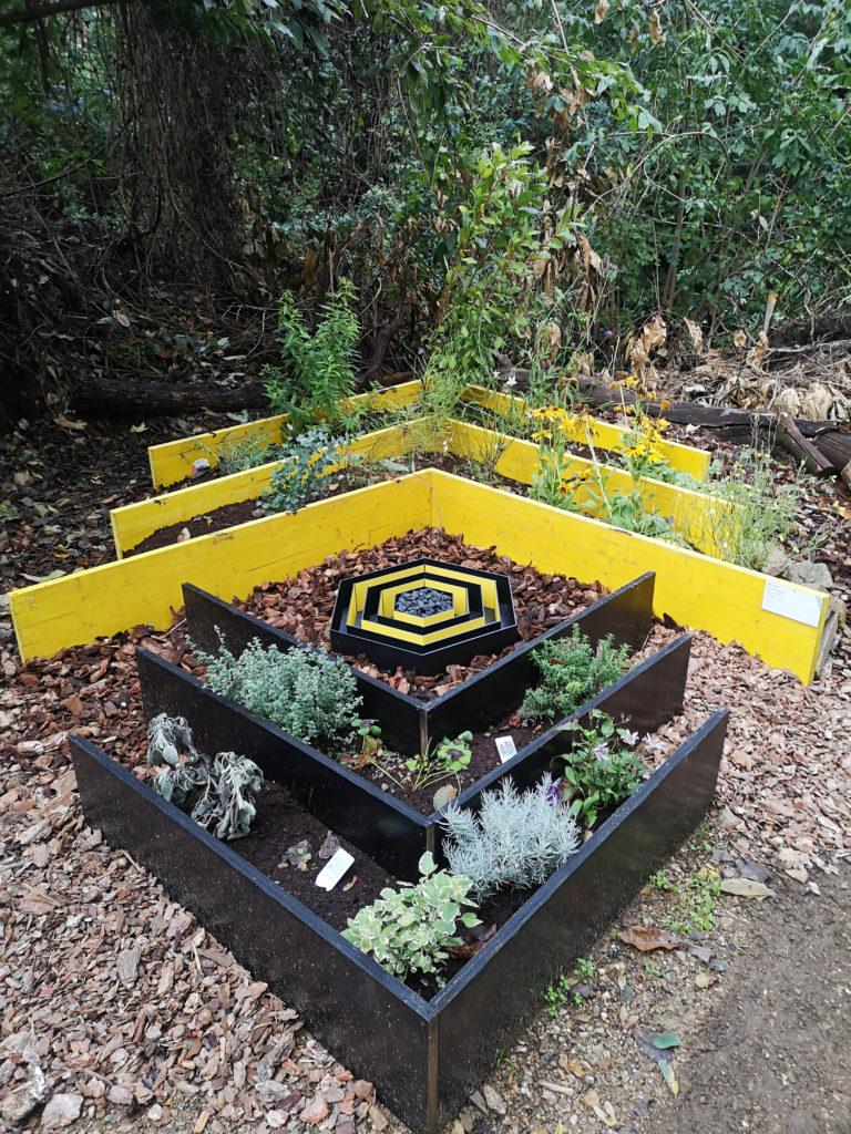 ITINERARIO 1 - Mya Lurgo, God save the queen bee. Legno, terra, fiori e ortaggi, corteccia, esagono in dibond e sassi dipinti. Ottobre 2020